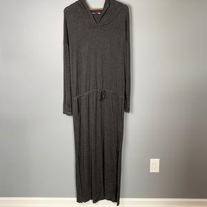 La Vie en Rose grey soft hooded drawstring long sweater robe with pockets XL